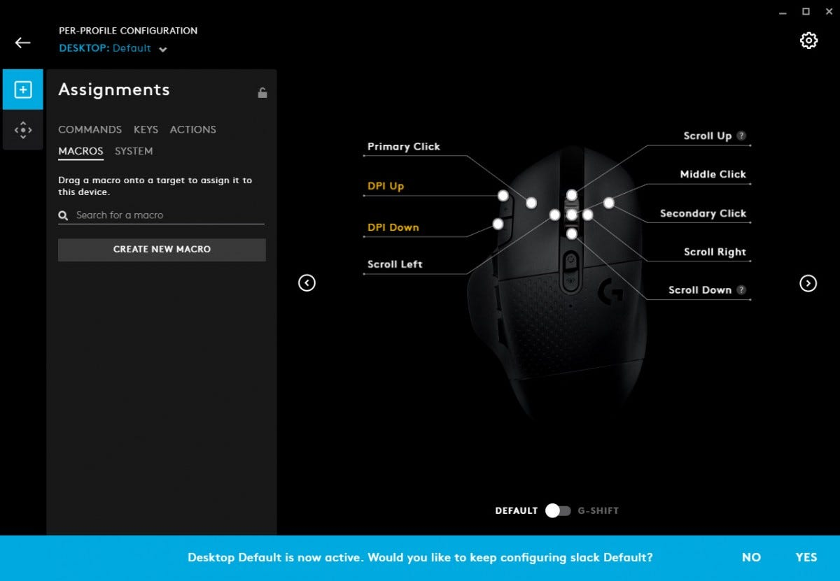 Logitech software screenshot