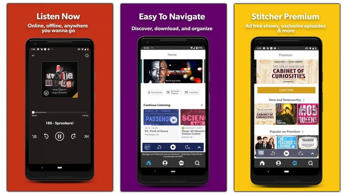 Screenshots of the Stitcher app