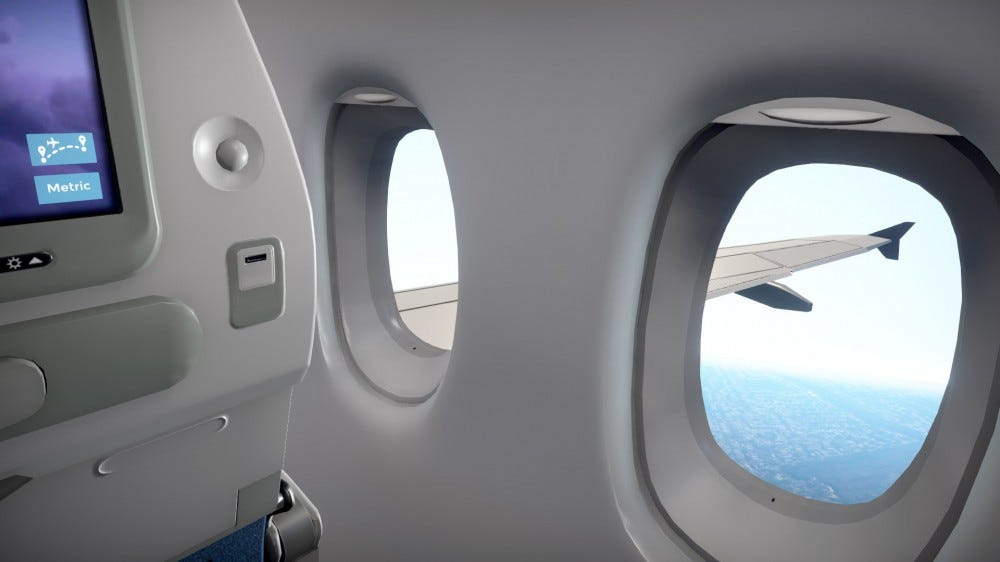 A video view of a Window seat in an Airplane.