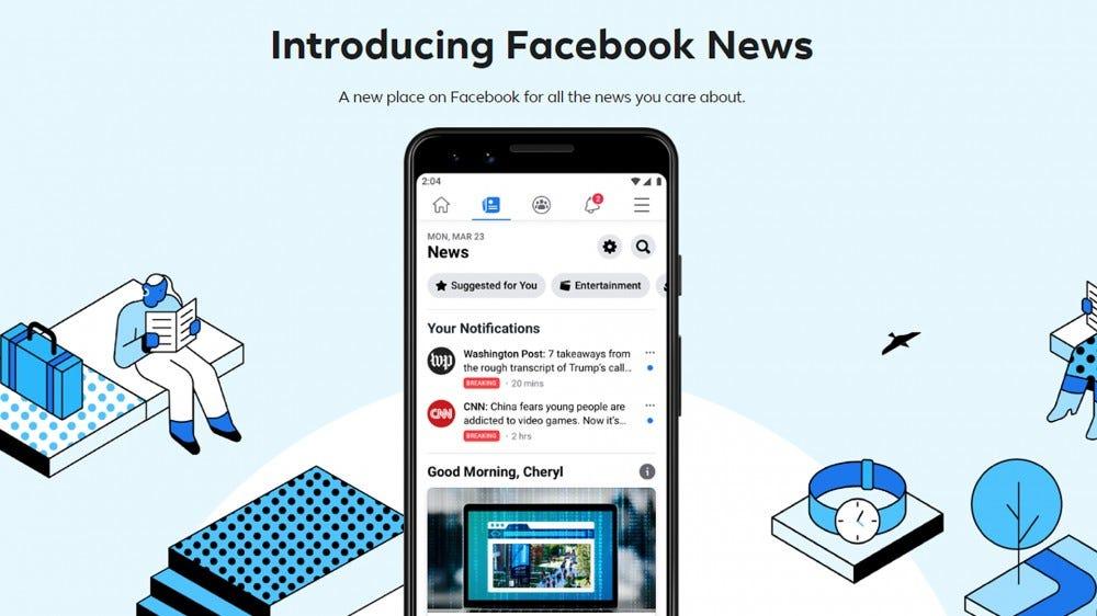 A screenshot of the Facebook News landing page.