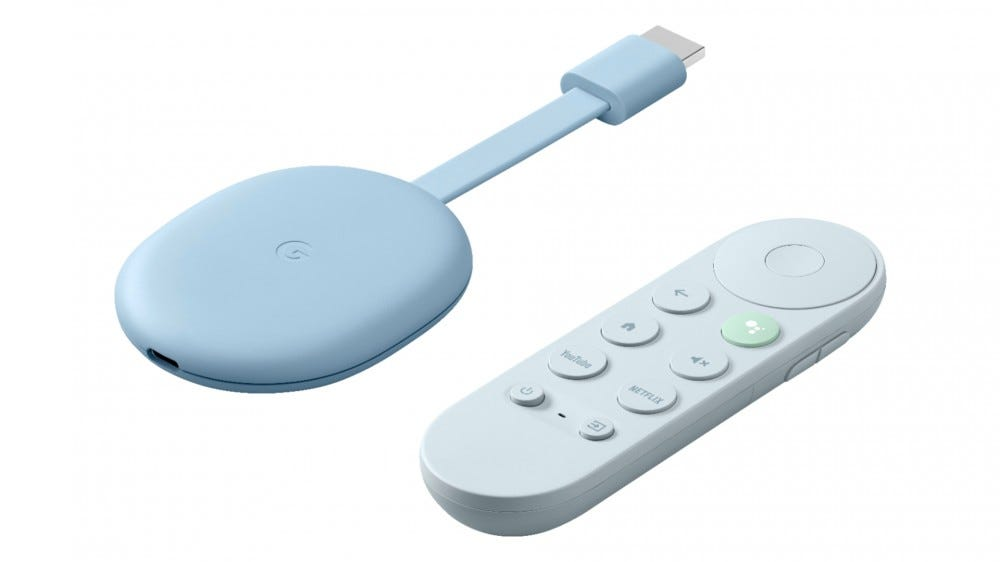 గూగుల్ టీవీతో నీలిరంగు Chromecast యొక్క ఫోటో