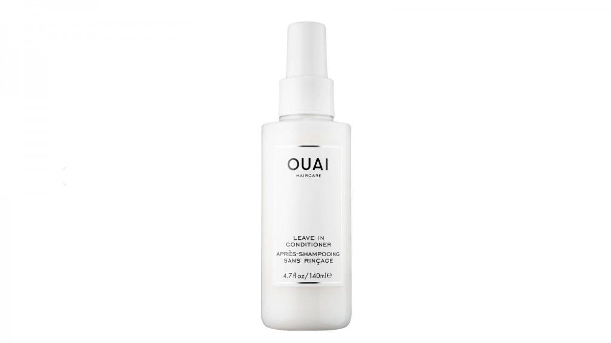 A bottle of Ouai Leave-In Conditioner
