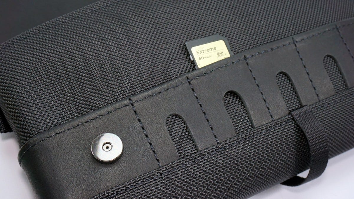 A closeup of the cartridge slots on the CitySlicker case.