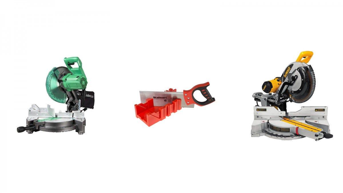 A Metabo miter saw, a Stalwart miter box with handsaw, and a DEWALT miter saw.