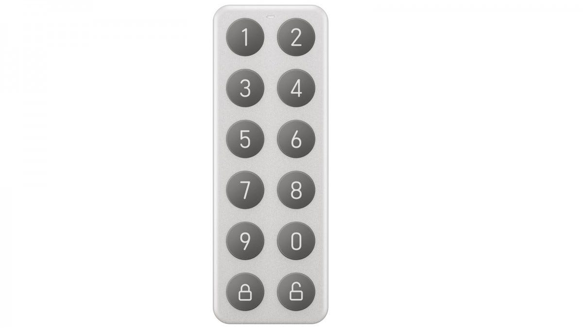 A small keypad with vertical rows of numbered buttons.