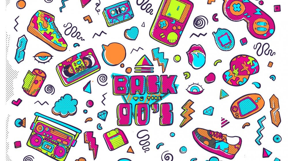 Back to the 90s, illustration in trendy 80s-90s design