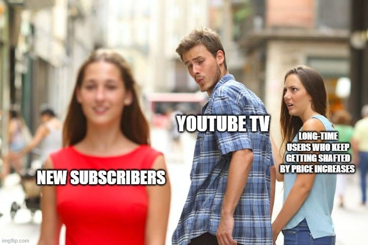 The distracted boyfriend meme with YouTube TV looking at new subscribers and ignoring long-time users