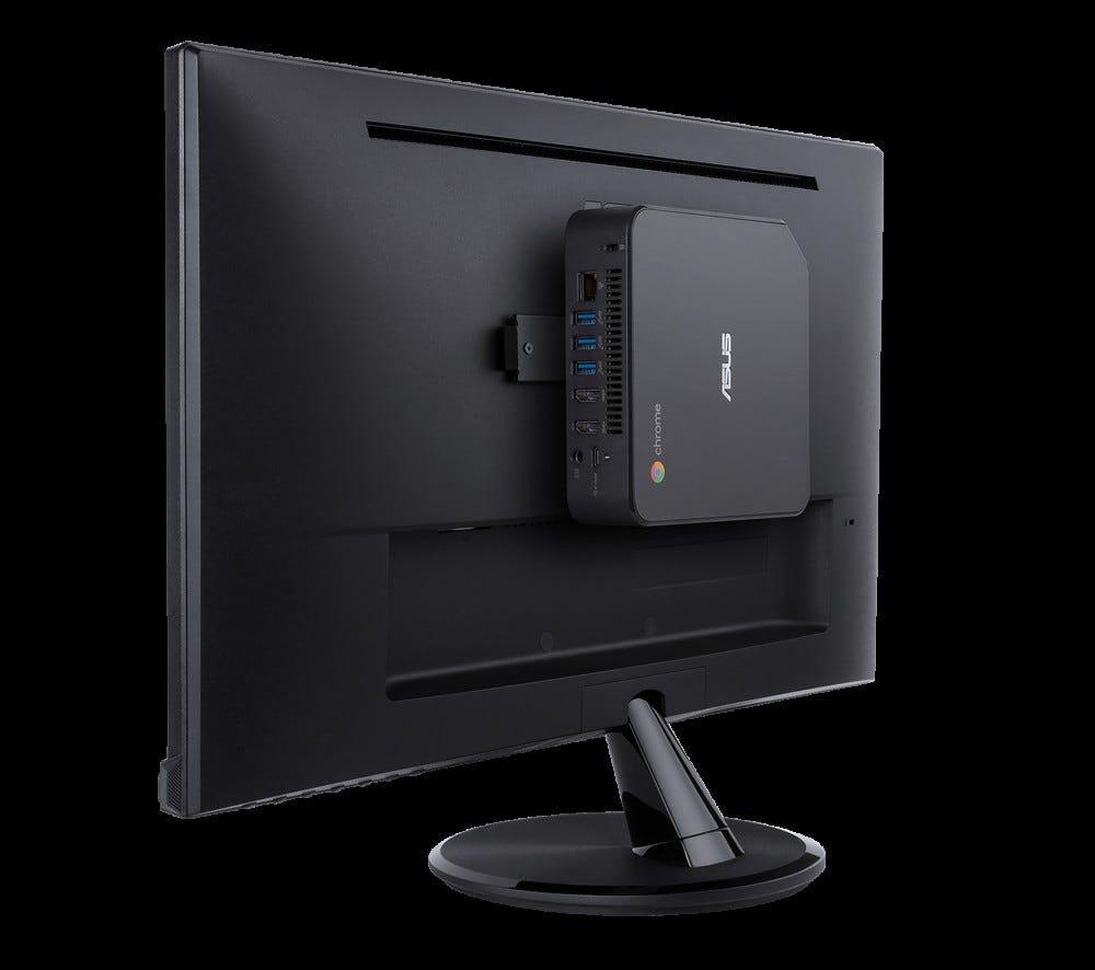 Asus Chromebox 4 mounted on monitor