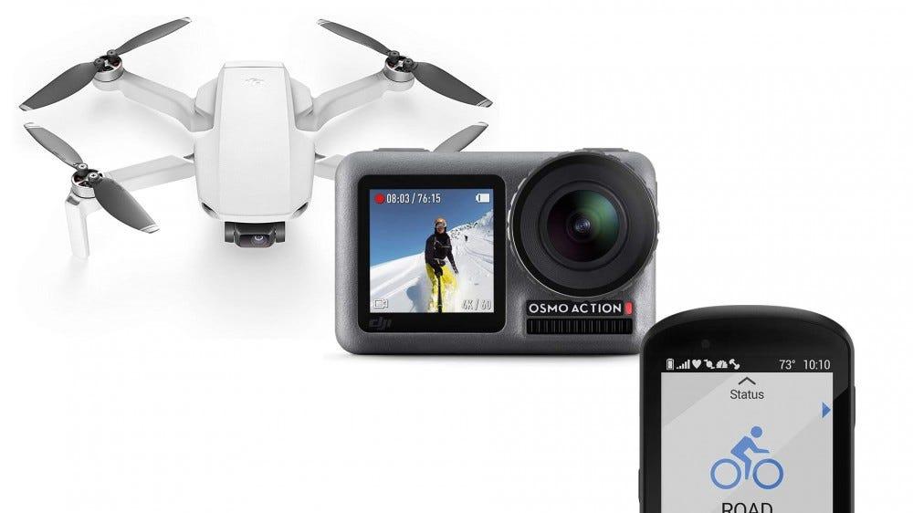 A photo ot the DJI Osmo Action cam, DJI Mavic drone, and the Garmin Edge