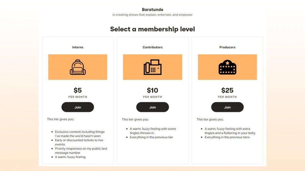 Example of Patreon membership levels