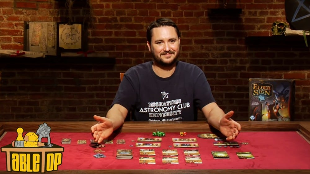 TableTop show on YouTube with Wil Wheaton explaining game mechanics at game table