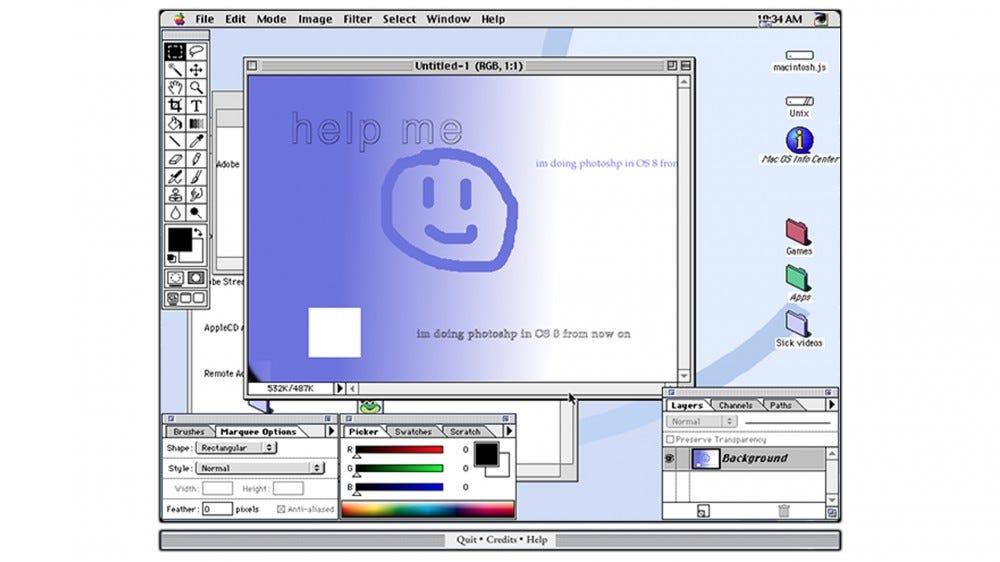 A screenshot of macintosh.js running Photoshop.