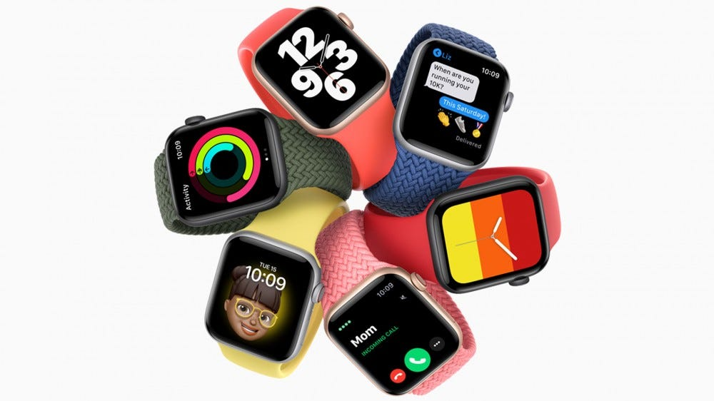 A photo of the Apple Watch SE in multiple colors.