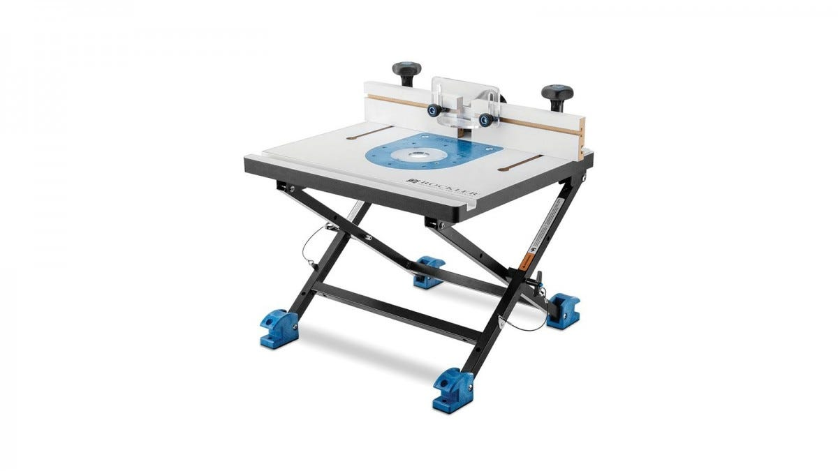 A Rockler convertible benchtop router table in bench mode.