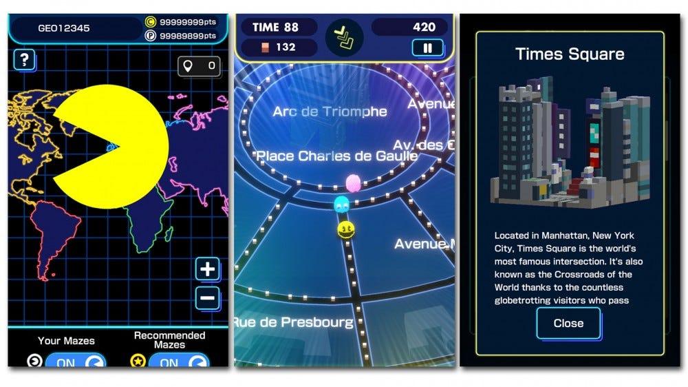 Pac-Man Geo screenshots