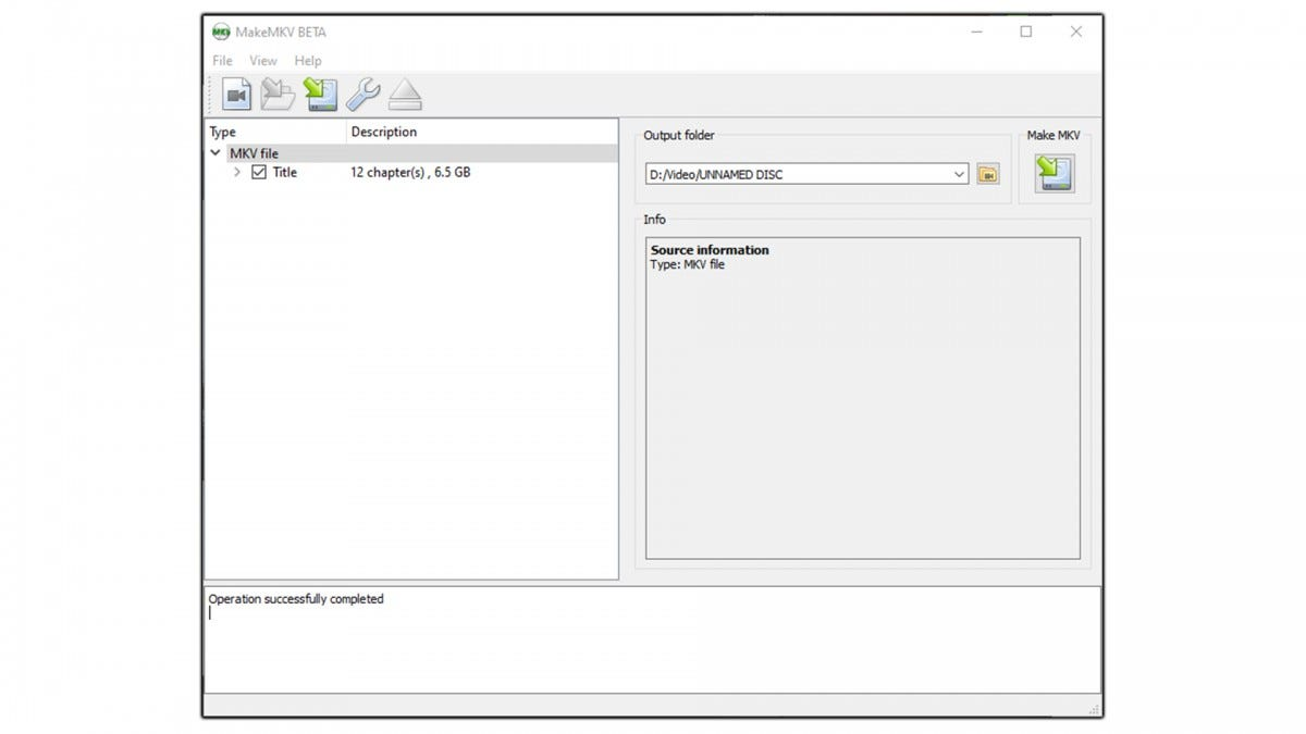 A screenshot of the MakeMKV software