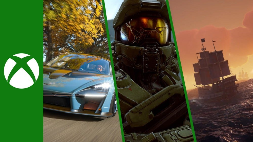 Gameplay screenshots of Forza Horizon 4, Halo 5: Guardians, and Sea of Thieves with the Xbox One logo.