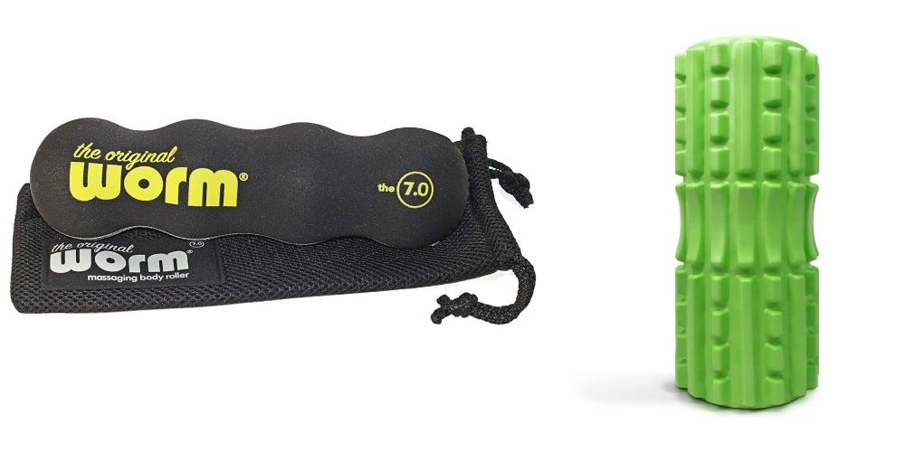The Original Worm foam roller, and the 321 Strong foam roller.
