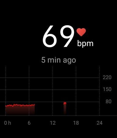A screenshot of the heart rate data