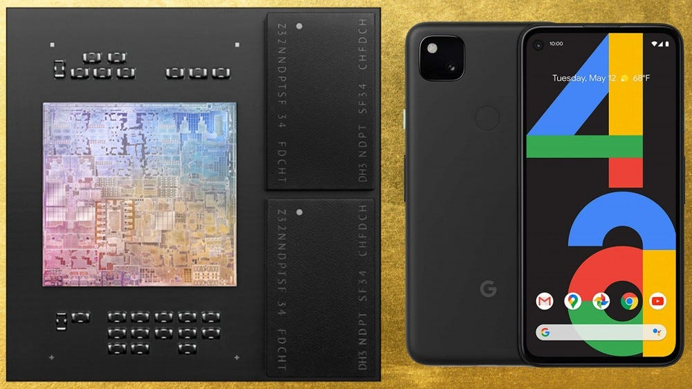 Apple M1 chip and Google Pixel 4a smartphone atop a gold leaf textured background