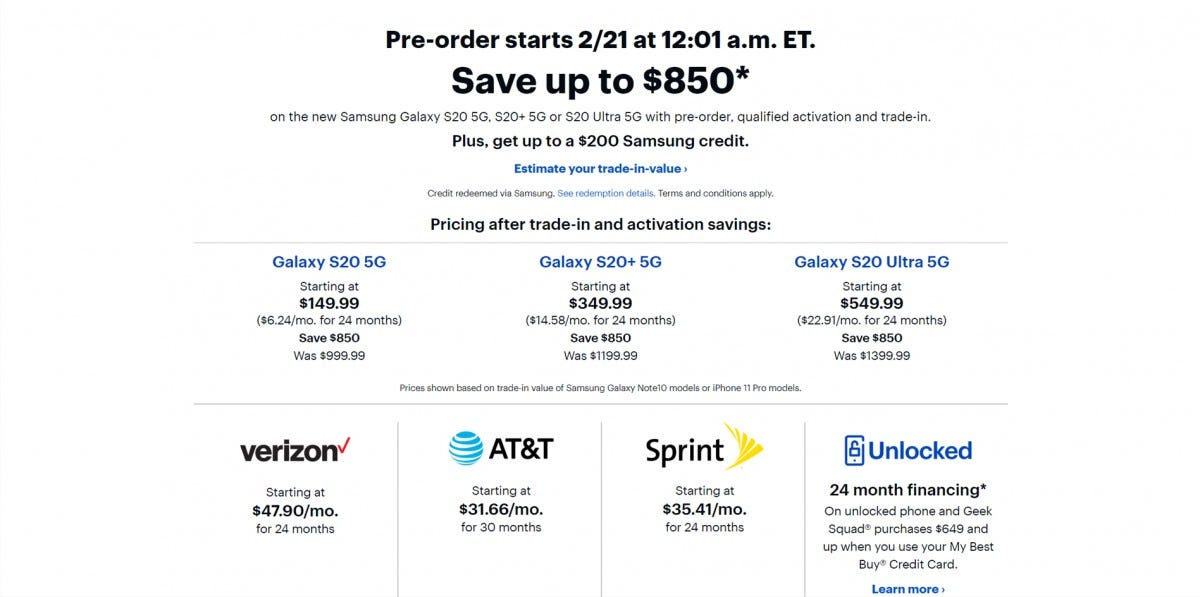 Best Buy Galaxy S20 Preorder Page