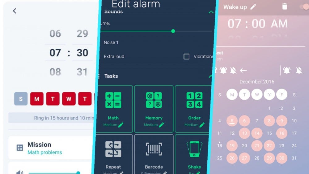 Screenshots from Alarmy, I Can't Wake Up!, and Early Bird Alarm Clock in a collage