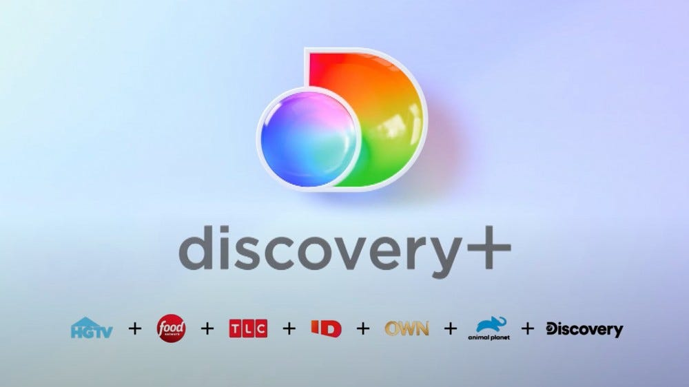 Discovery Plus streaming service logo and some included channels