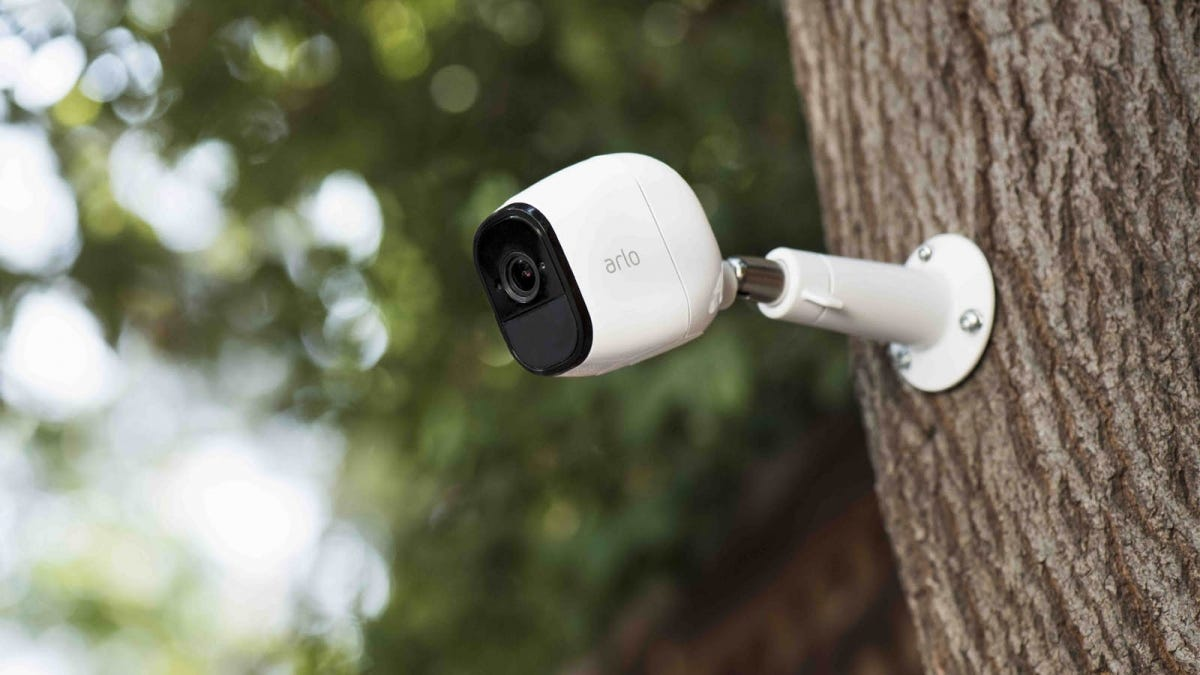 Arlo Pro Wi-Fi security camera outdoors, mounted to a tree trunk
