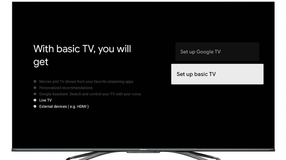 A photo of the Basic TV setup screen on a Hisense Android TV.
