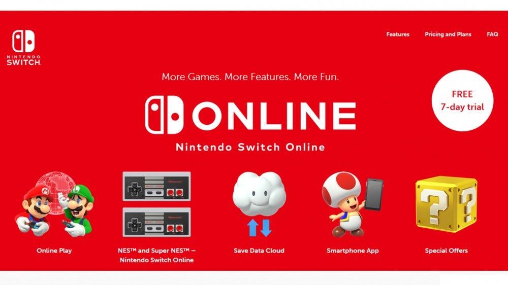 A screenshot from the online Nintendo Switch website