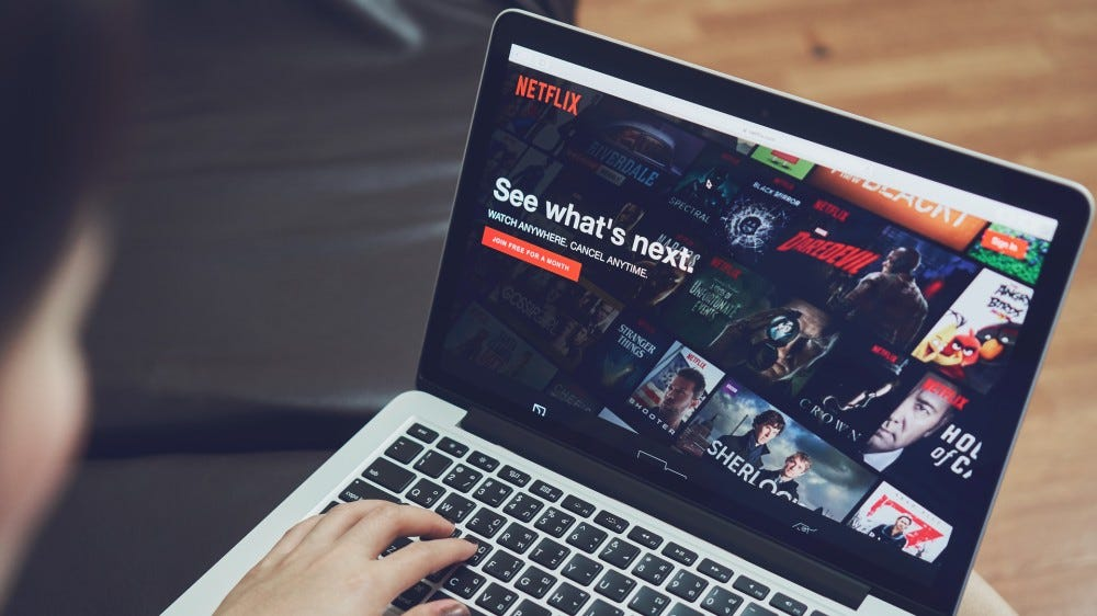 Netflix app open on laptop screen