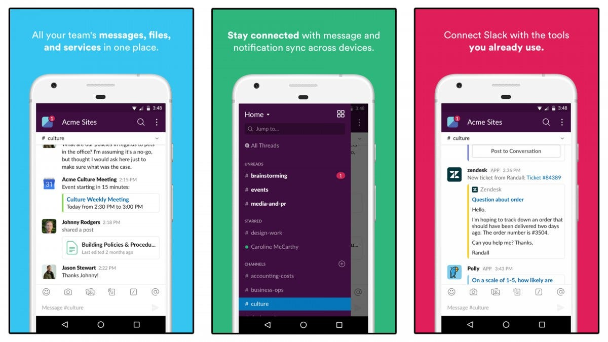 Screenshots of the Slack app.