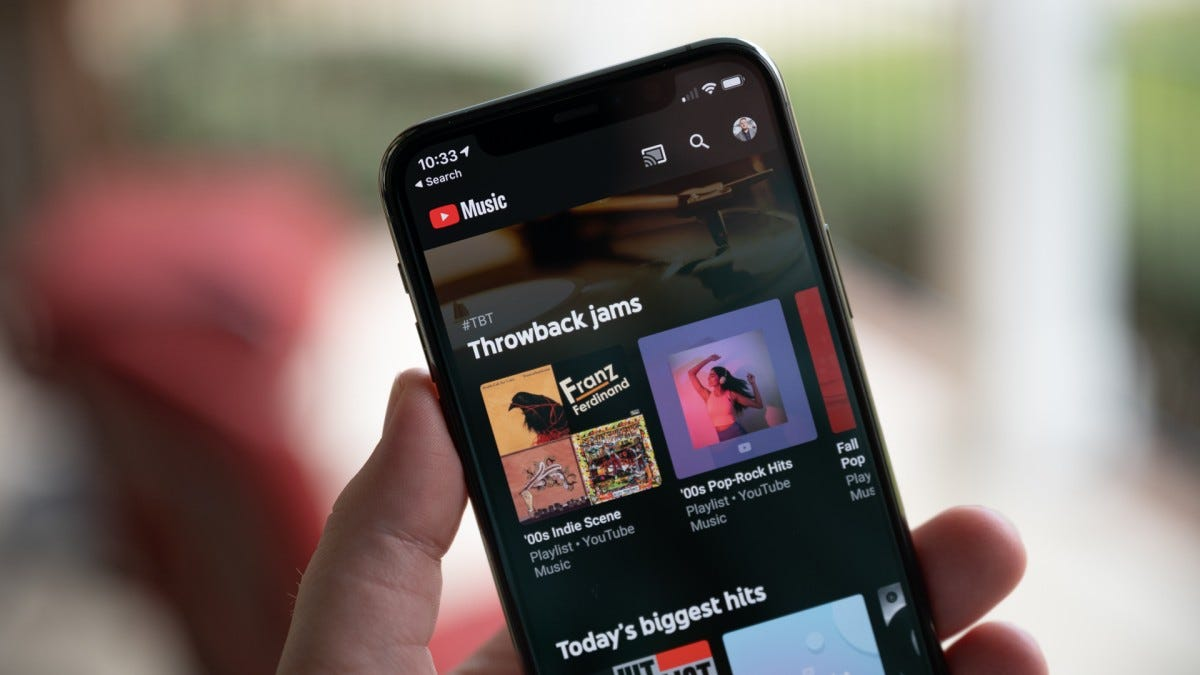 An iPhone with YouTube Music showing Throwback jams