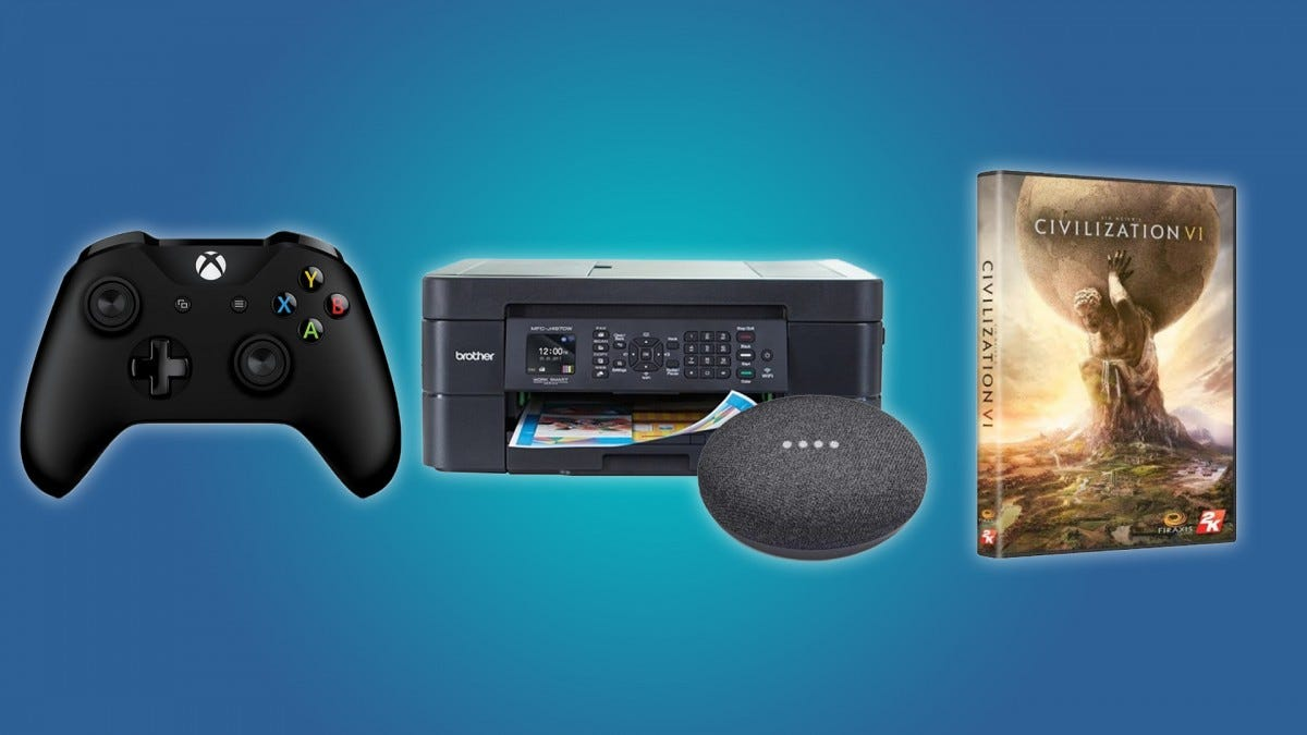 The Xbox One Controller, the Brother Inkjet Printer, the Google Home Mini, and Civilization VI
