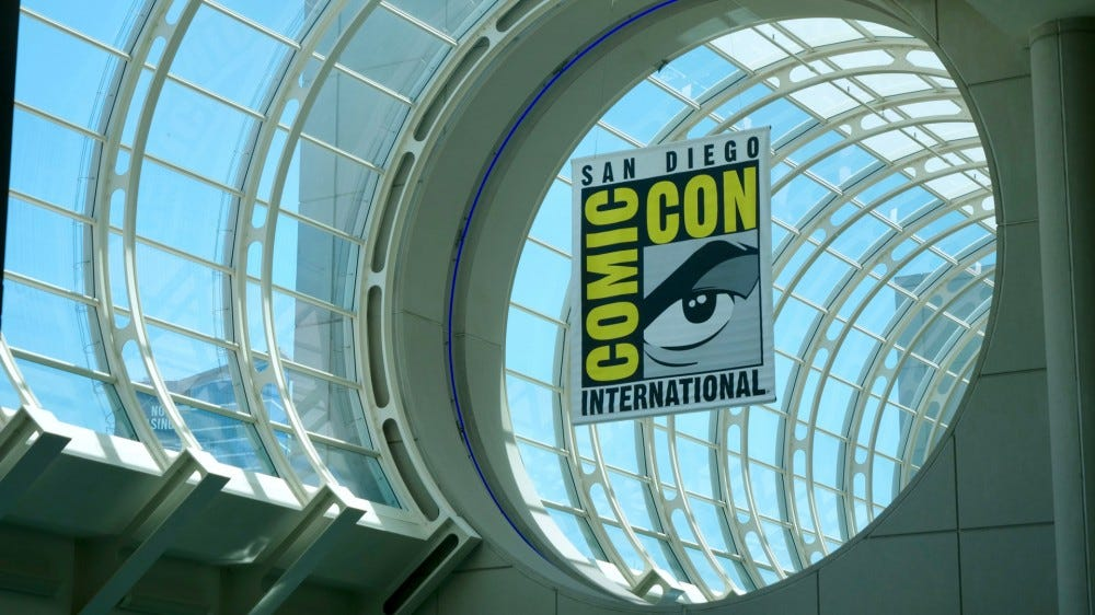 The San Diego Comic-Con inside the conference center hangs a banner for the conference