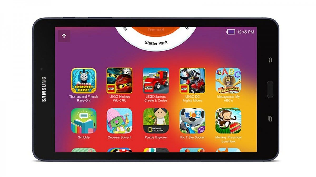 A Galaxy Tab A with kids games showing.