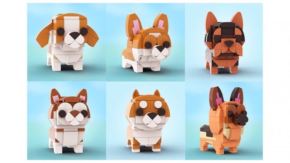 LEGO Doggo set from LEGO Ideas includes several cute dogs