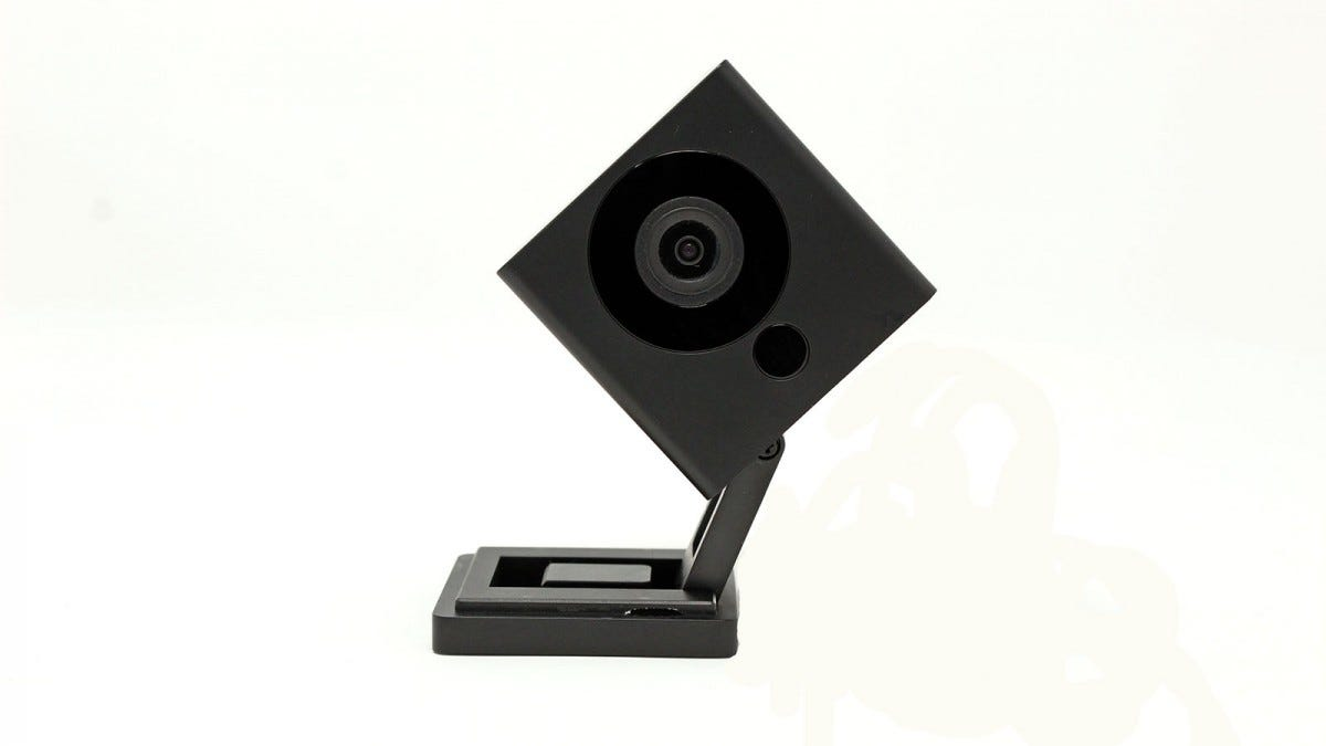 A Black Wyze camera tilted sideways.