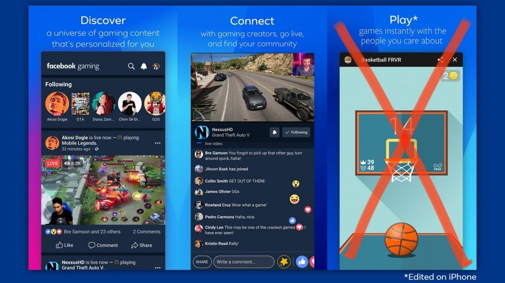 Screenshots of Facebook Gaming on iOS with the games crossed out.