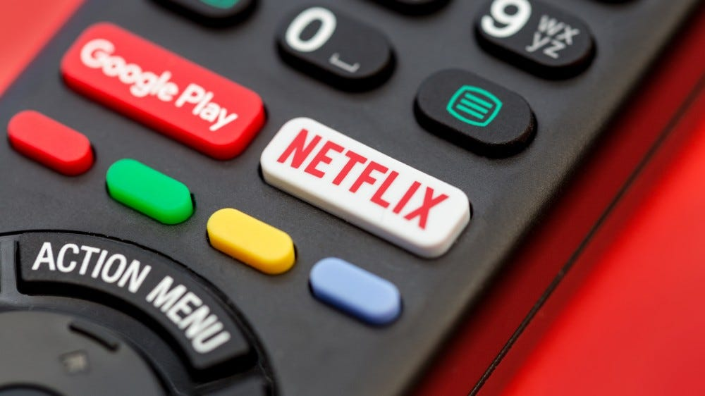 Netflix button on a television remote control