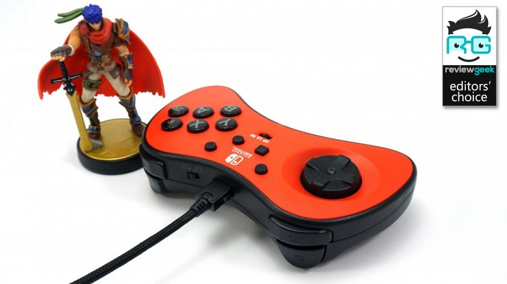 The PowerA Fusion FightPad, with an Amiibo