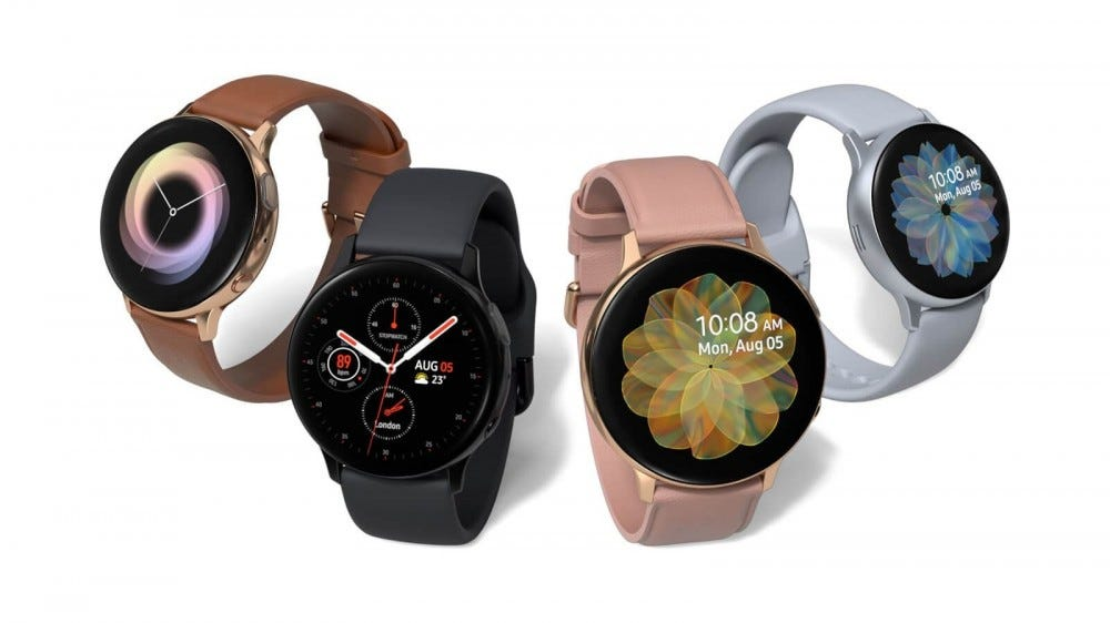 Four versions of the Galaxy Watch Active 2 on a white background