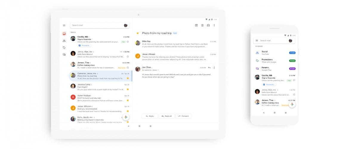 Gmail's new material makeover