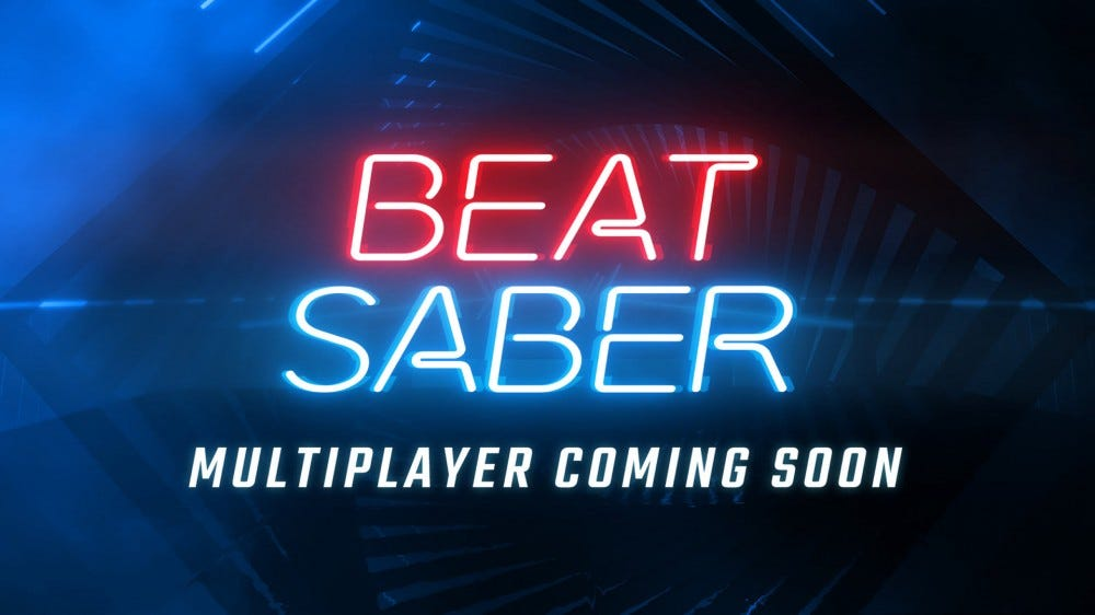 The 'Beat Saber' logo over a promise of multiplayer coming soon.