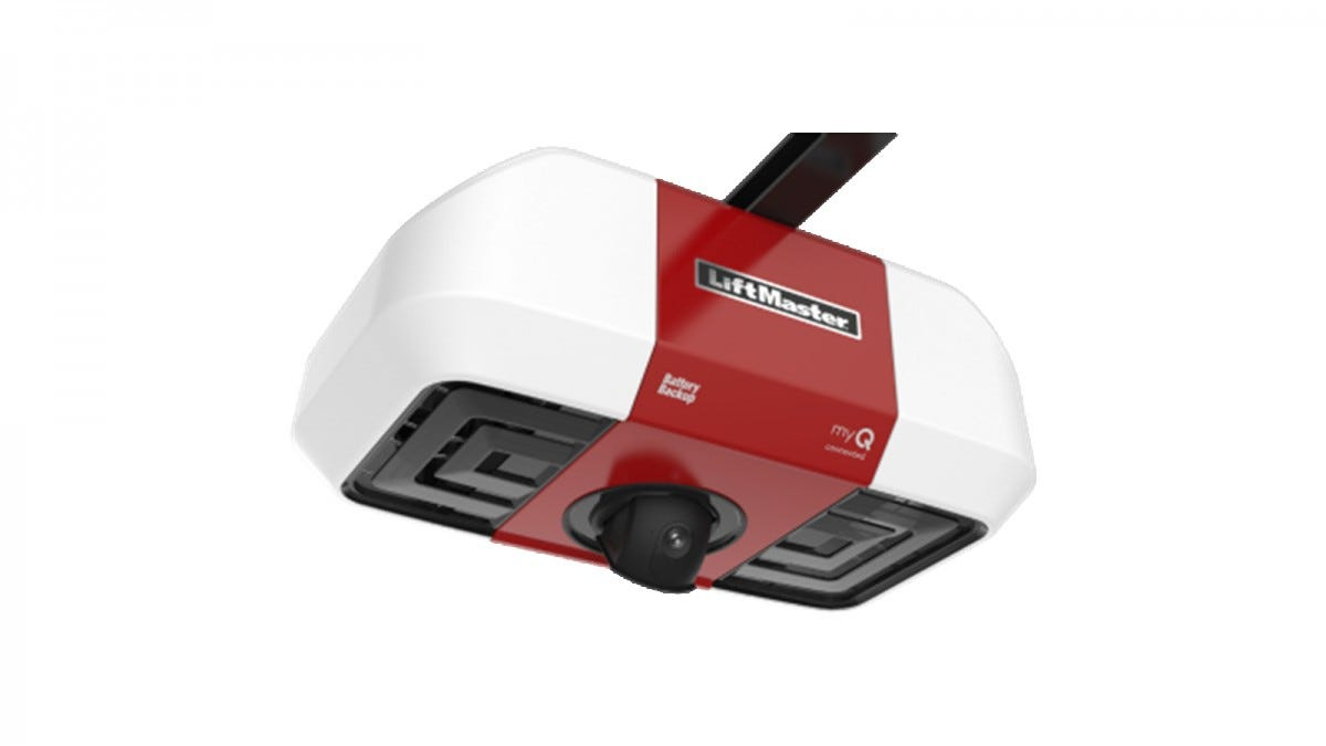 The LiftMaster WI-FI Garage Door Opener with Integrated Camera with a red stripe and black camera.