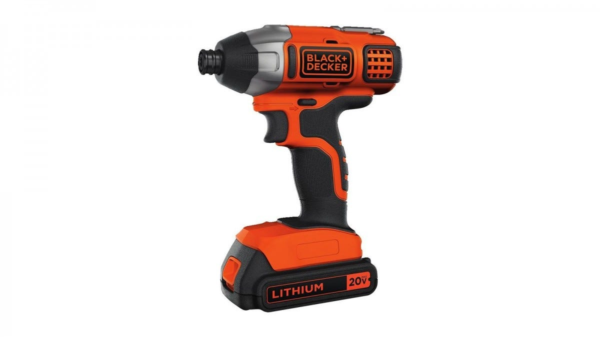 A Black & Decker impact driver with battery.