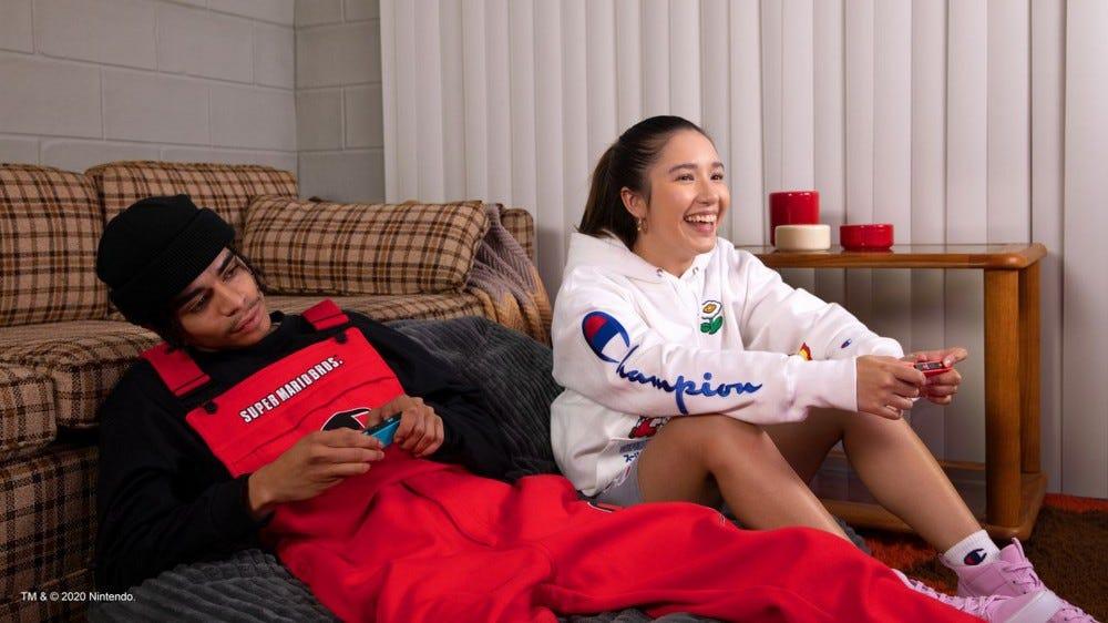 Champion Nintendo Super Mario Bros. collaboration clothing items on models
