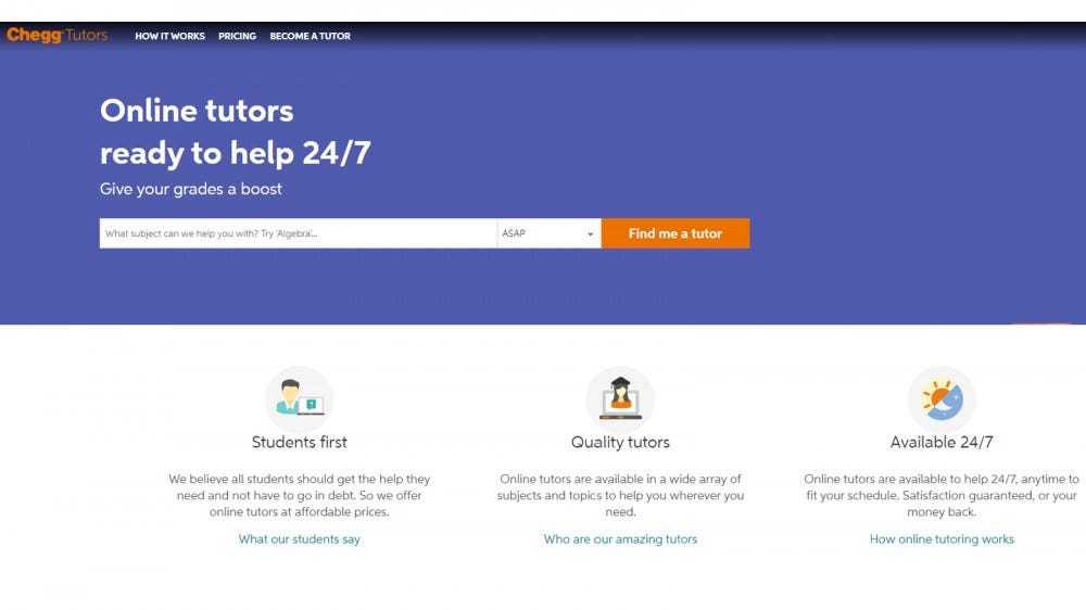 Chegg website with student and tutor options
