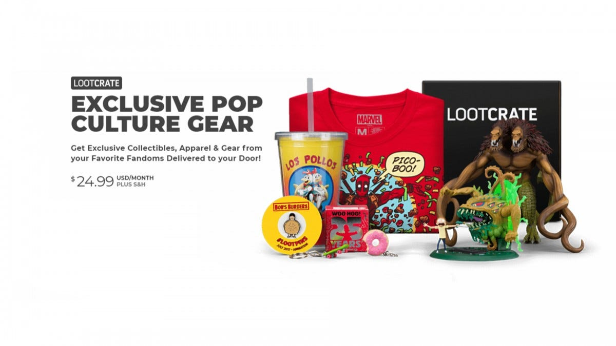 A screenshot of Lootcrate's website. It's a bunch of nerdy gear, like Deadpool shirts and Breaking Bad cups.