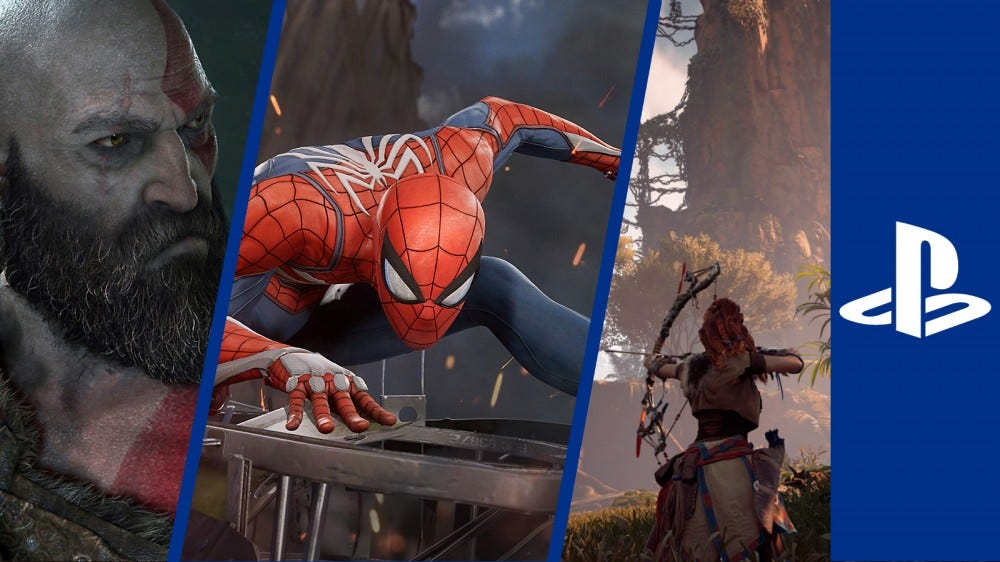 God of War, Marvel's Spider-Man, and Horizon Zero Dawn with a PS4 sidebar
